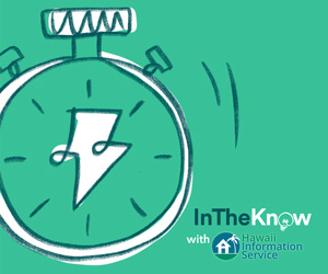 light green alarm clock HIS in the know graphic